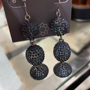 Black Diamond Rhinestone Covered Earrings
